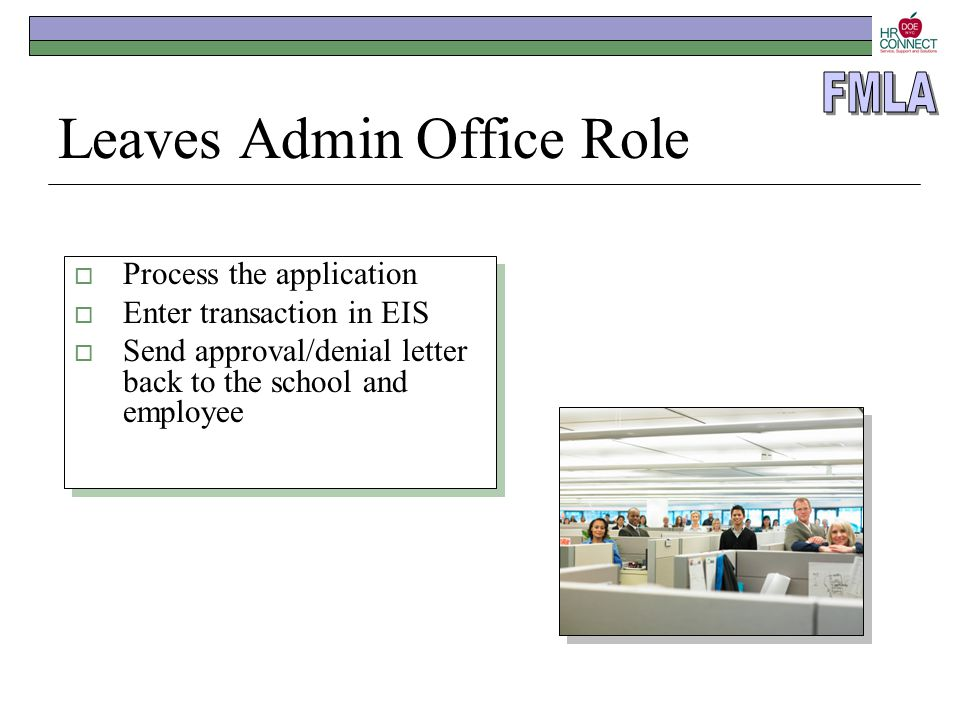 Leaves Admin Office Role  Process the application  Enter transaction in EIS  Send approval/denial letter back to the school and employee  Process