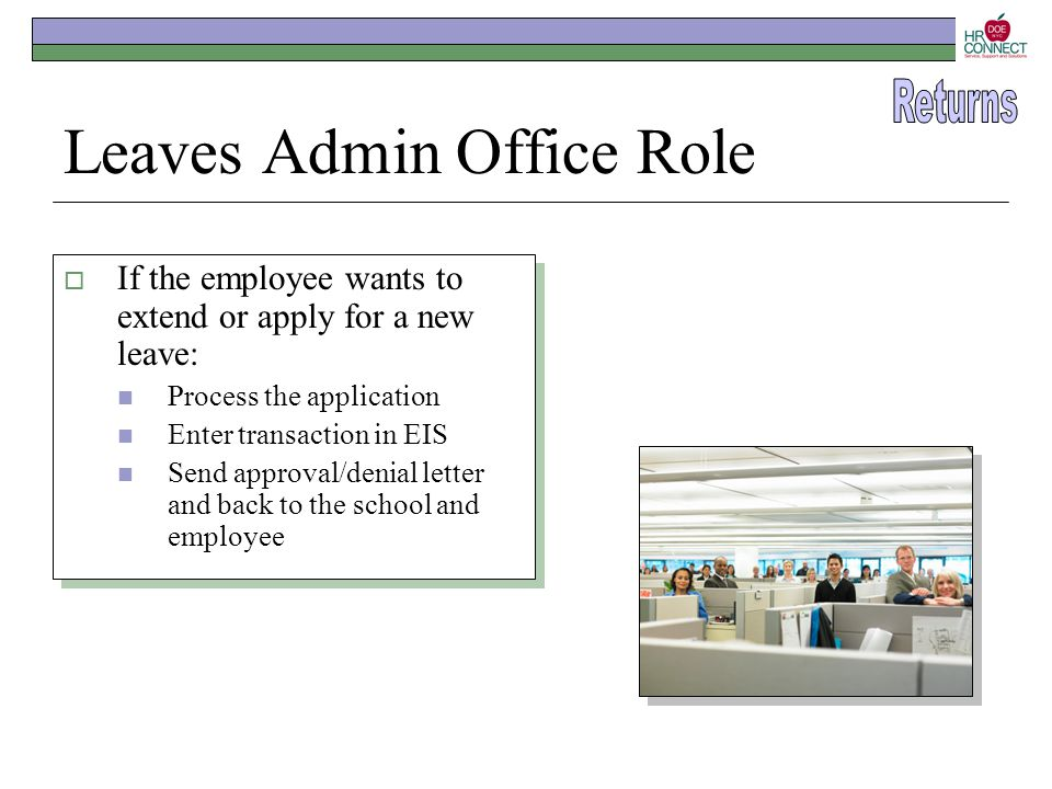 Leaves Admin Office Role  If the employee wants to extend or apply for a new leave: Process the application Enter transaction in EIS Send approval/de