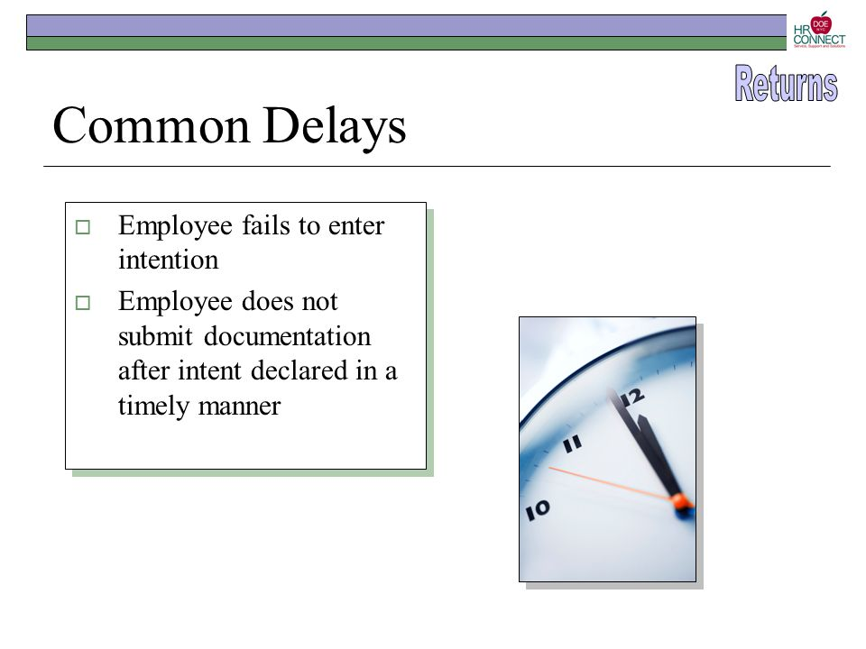 Common Delays  Employee fails to enter intention  Employee does not submit documentation after intent declared in a timely manner  Employee fails t