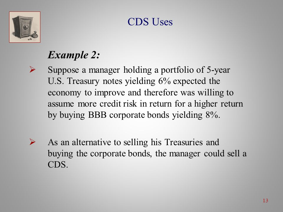 13 CDS Uses Example 2:  Suppose a manager holding a portfolio of 5-year U.S.