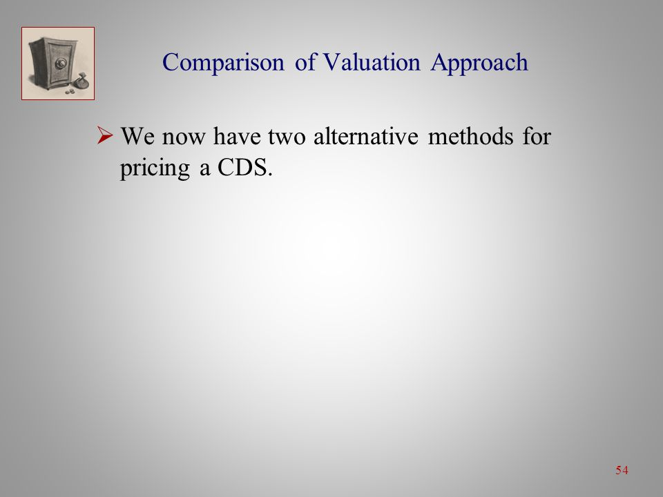 54 Comparison of Valuation Approach  We now have two alternative methods for pricing a CDS.