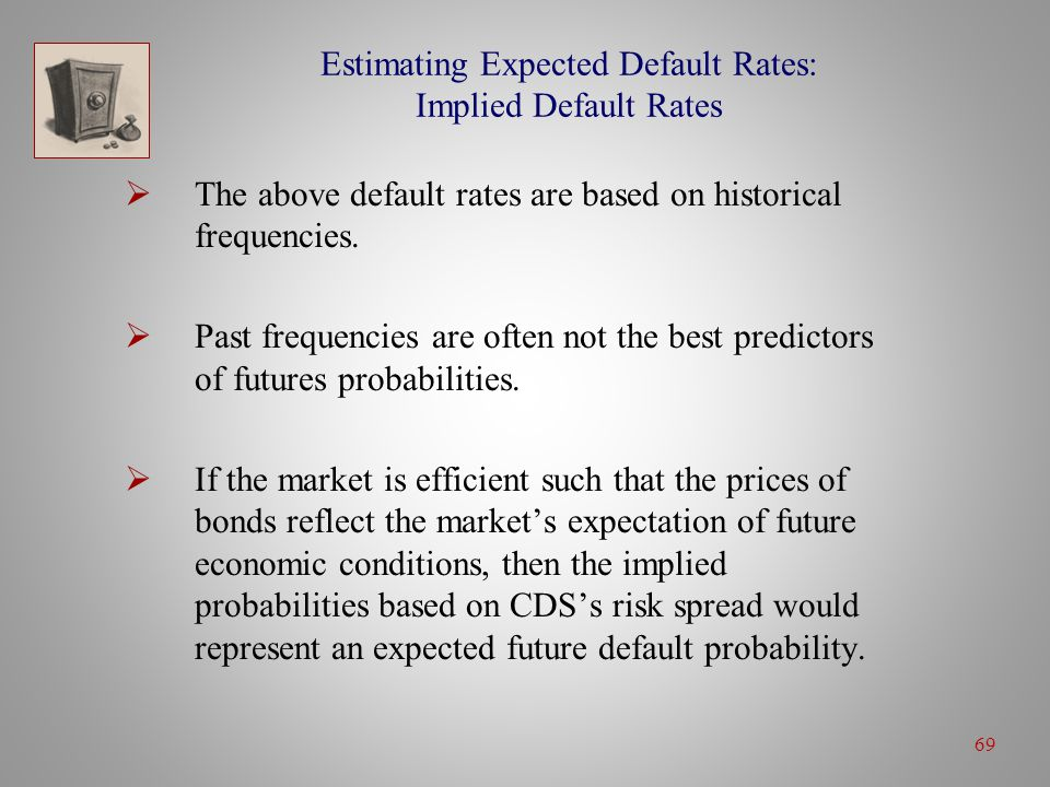 69 Estimating Expected Default Rates: Implied Default Rates  The above default rates are based on historical frequencies.