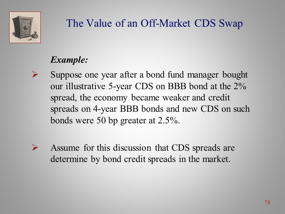 78 The Value of an Off-Market CDS Swap Example:  Suppose one year after a bond fund manager bought our illustrative 5-year CDS on BBB bond at the 2% spread, the economy became weaker and credit spreads on 4-year BBB bonds and new CDS on such bonds were 50 bp greater at 2.5%.