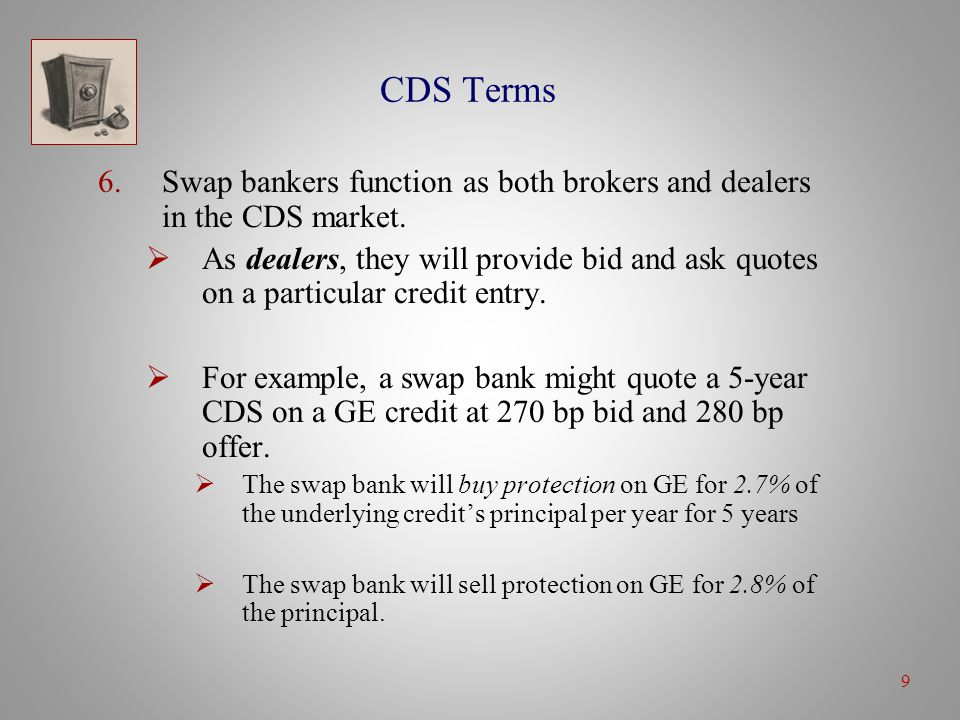 9 CDS Terms 6.Swap bankers function as both brokers and dealers in the CDS market.