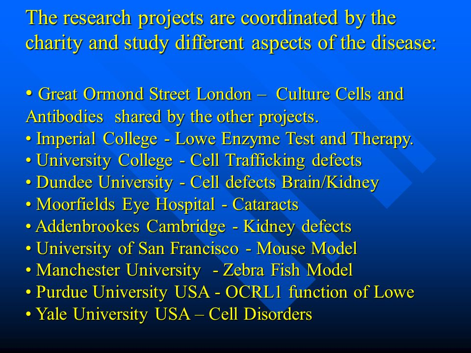 The research projects are coordinated by the charity and study different aspects of the disease: Great Ormond Street London – Culture Cells and Antibodies shared by the other projects.