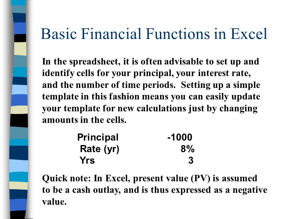 Basic Financial Functions in Excel In the spreadsheet, it is often advisable to set up and identify cells for your principal, your interest rate, and