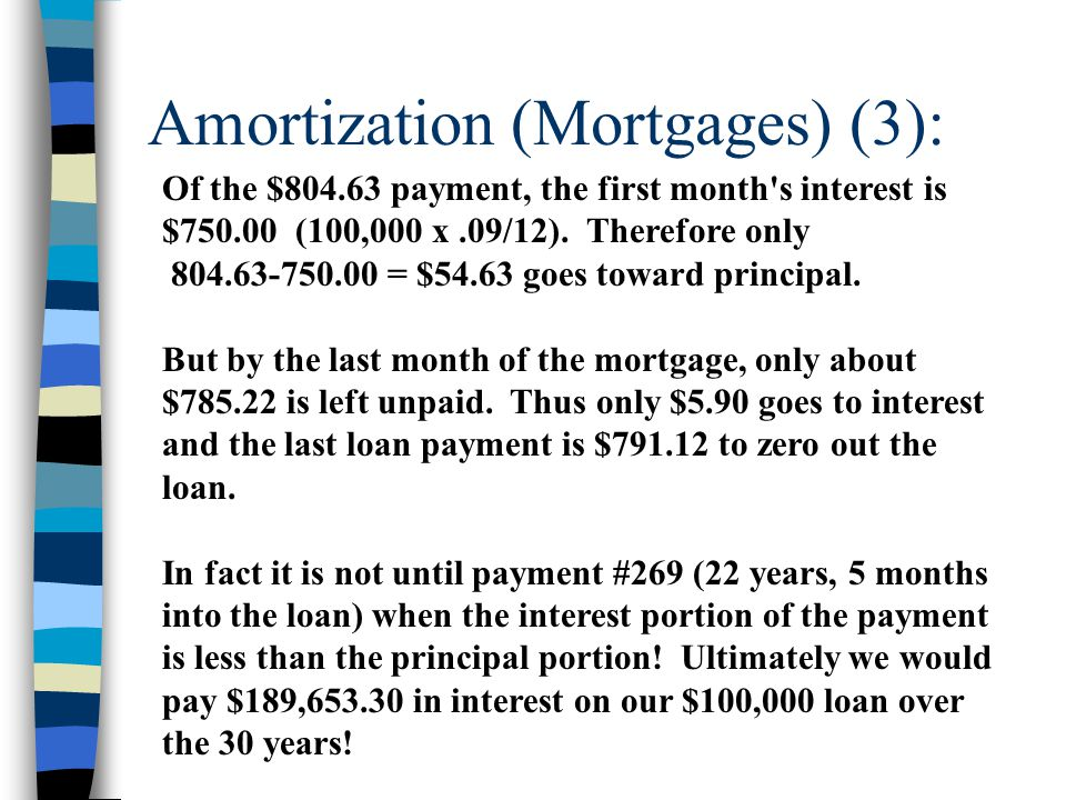 Amortization (Mortgages) (3): Of the $804.63 payment, the first month's interest is $750.00 (100,000 x.09/12). Therefore only 804.63-750.00 = $54.63 g