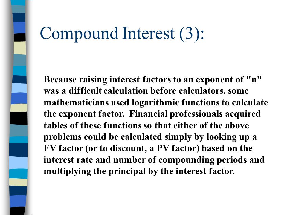Compound Interest (4): Now, computerized spreadsheets can build in these financial functions and easily do the work for us.