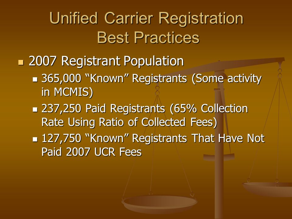 Unified Carrier Registration Best Practices 2007 Registrant Population 2007 Registrant Population 365,000 Known Registrants (Some activity in MCMIS) 365,000 Known Registrants (Some activity in MCMIS) 237,250 Paid Registrants (65% Collection Rate Using Ratio of Collected Fees) 237,250 Paid Registrants (65% Collection Rate Using Ratio of Collected Fees) 127,750 Known Registrants That Have Not Paid 2007 UCR Fees 127,750 Known Registrants That Have Not Paid 2007 UCR Fees