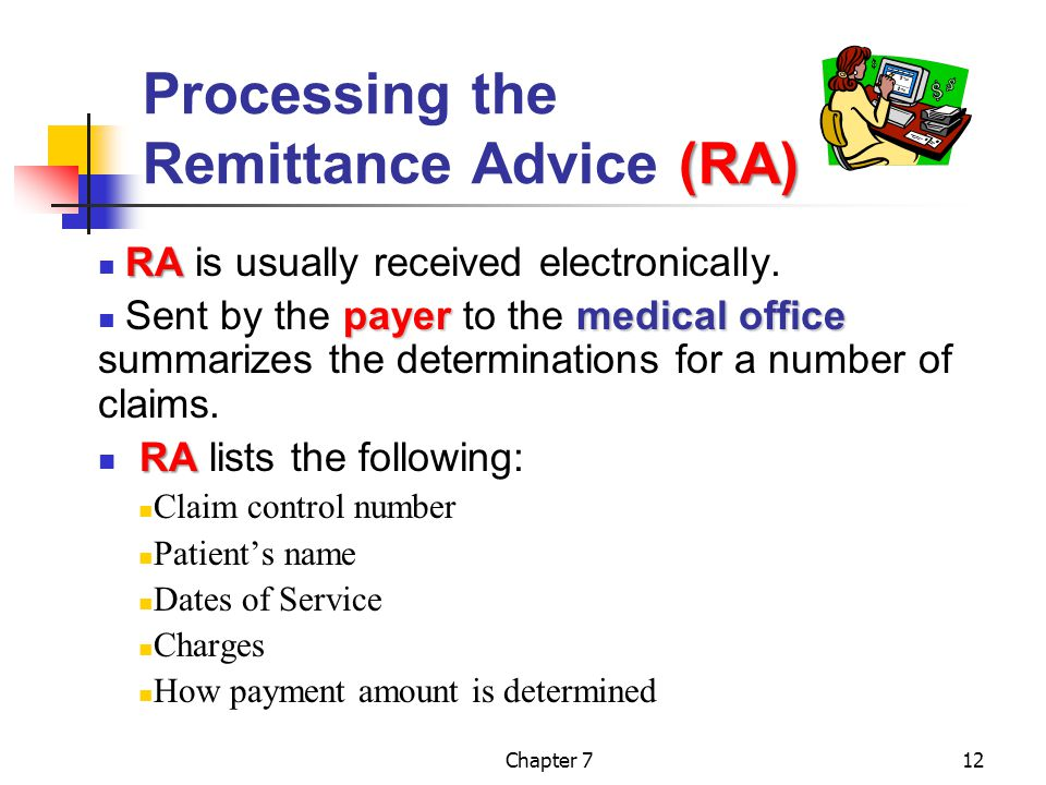 Chapter 712 (RA) Processing the Remittance Advice (RA) RA RA is usually received electronically.
