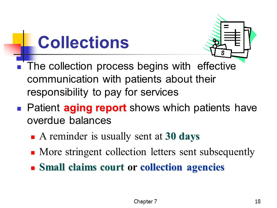 Chapter 718 Collections The collection process begins with effective communication with patients about their responsibility to pay for services aging