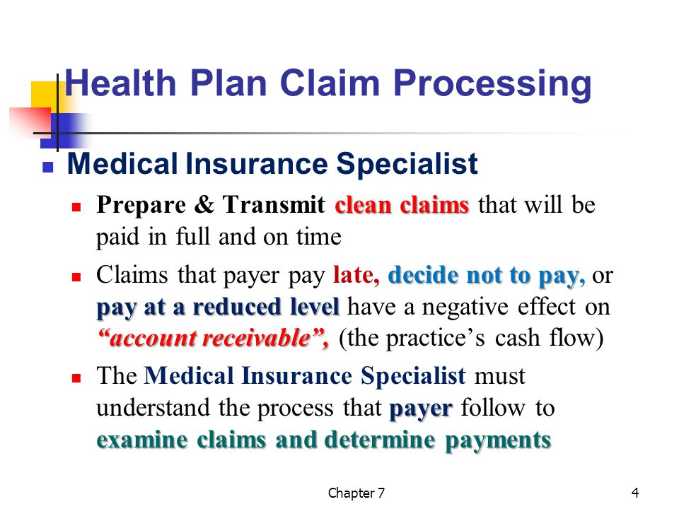 Chapter 74 Health Plan Claim Processing Medical Insurance Specialist clean claims Prepare & Transmit clean claims that will be paid in full and on tim
