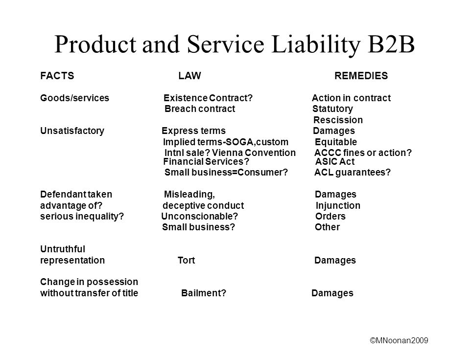 ©MNoonan2009 Product and Service Liability B2B FACTS LAW REMEDIES Goods/services Existence Contract.