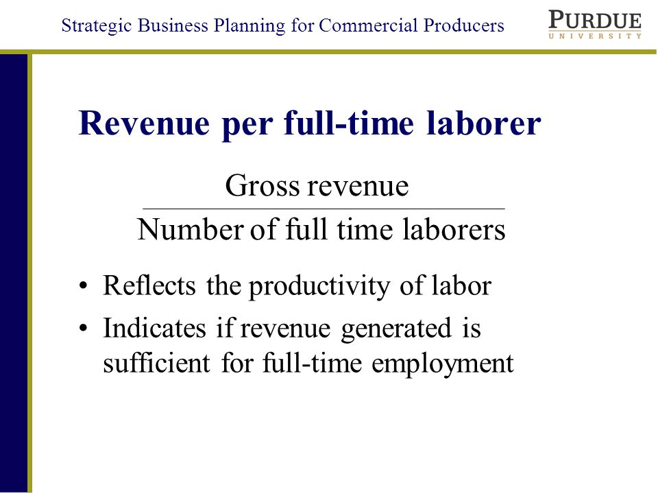 Strategic Business Planning for Commercial Producers Revenue per full-time laborer Reflects the productivity of labor Indicates if revenue generated is sufficient for full-time employment Number of full time laborers Gross revenue