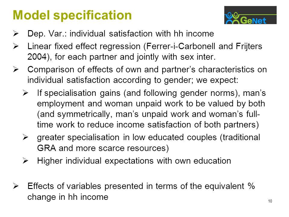 10 Model specification  Dep.