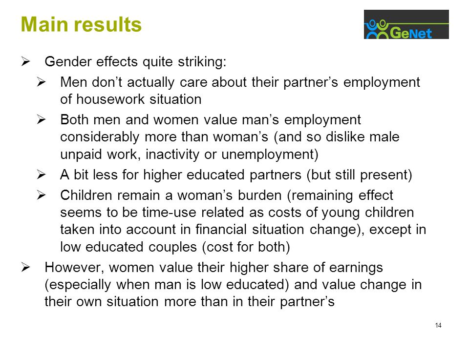 14 Main results  Gender effects quite striking:  Men don't actually care about their partner's employment of housework situation  Both men and wome