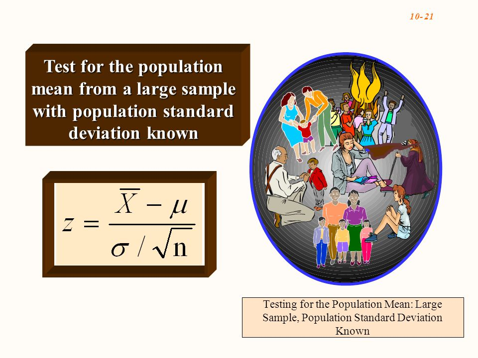 10- 21 Testing for the Population Mean: Large Sample, Population Standard Deviation Known Test for the population mean from a large sample with population standard deviation known