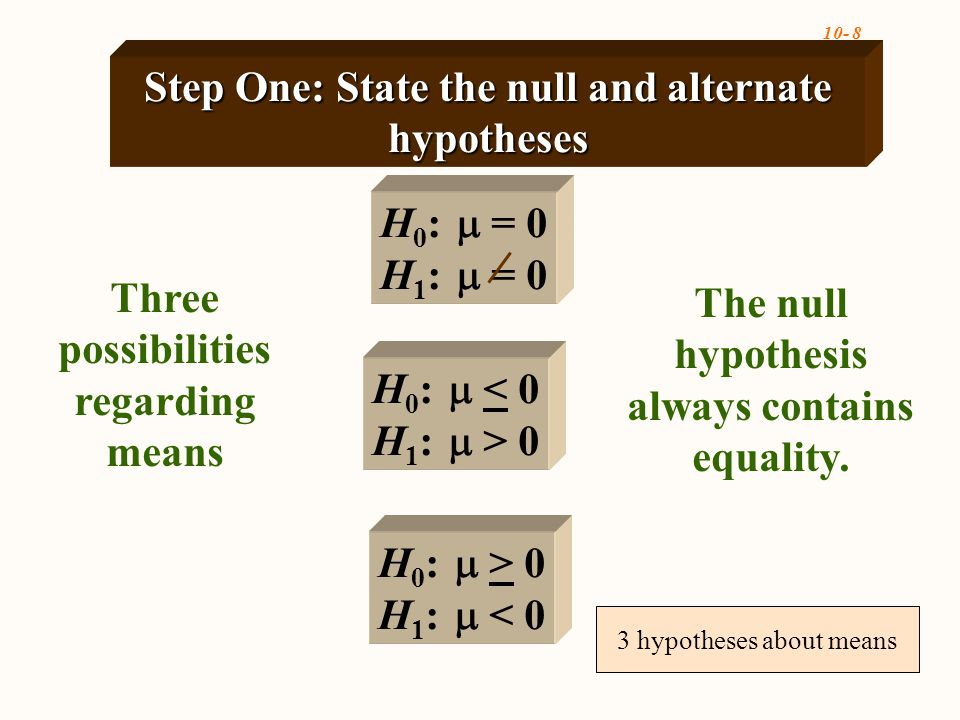 10- 8 Three possibilities regarding means H 0 :  = 0 H 1 :  = 0 H 0 :  < 0 H 1 :  > 0 H 0 :  > 0 H 1 :  < 0 Step One: State the null and alternate hypotheses The null hypothesis always contains equality.