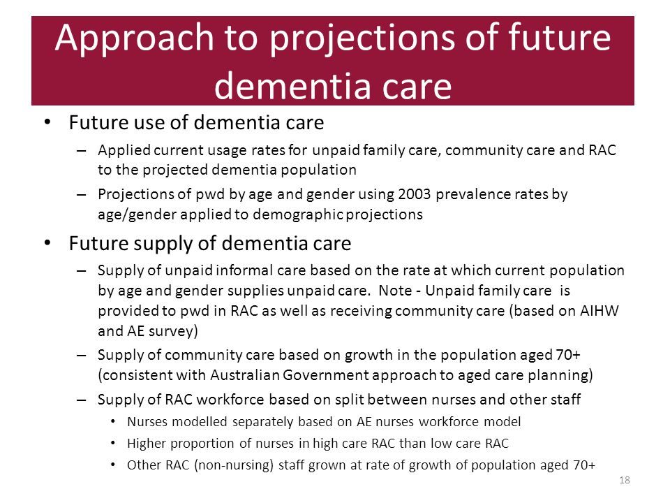 Approach to projections of future dementia care 18 Future use of dementia care – Applied current usage rates for unpaid family care, community care and RAC to the projected dementia population – Projections of pwd by age and gender using 2003 prevalence rates by age/gender applied to demographic projections Future supply of dementia care – Supply of unpaid informal care based on the rate at which current population by age and gender supplies unpaid care.