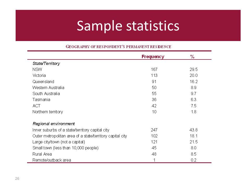 26 Sample statistics