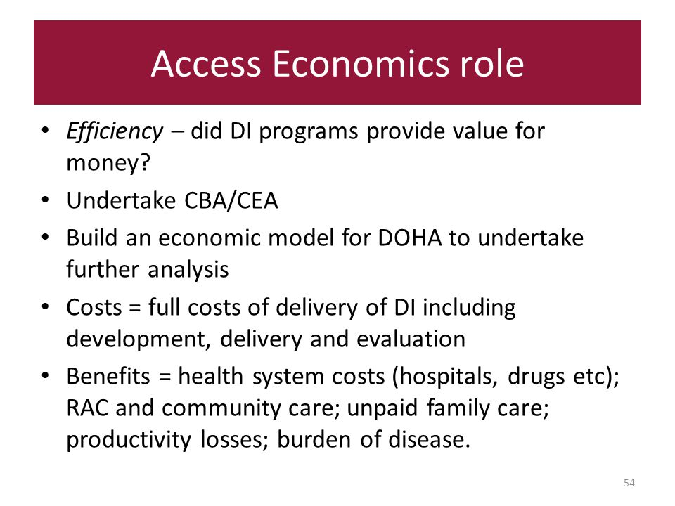 Access Economics role 54 Efficiency – did DI programs provide value for money.