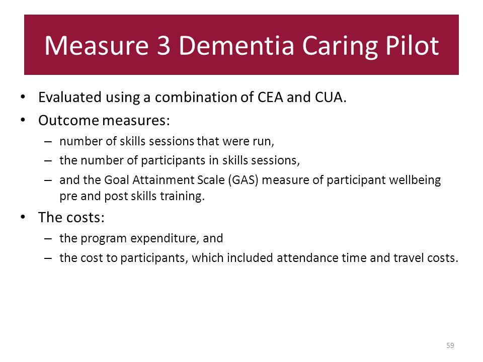Measure 3 Dementia Caring Pilot Evaluated using a combination of CEA and CUA.