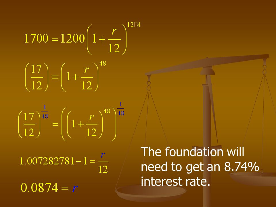 Finding the interest rate A foundation wants to create a scholarship for a deserving student in which the scholarship amount of $500 would come from the interest earned on a scholarship fund.