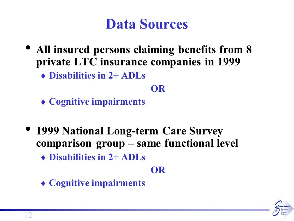 12 Data Sources All insured persons claiming benefits from 8 private LTC insurance companies in 1999  Disabilities in 2+ ADLs OR  Cognitive impairments 1999 National Long-term Care Survey comparison group – same functional level  Disabilities in 2+ ADLs OR  Cognitive impairments