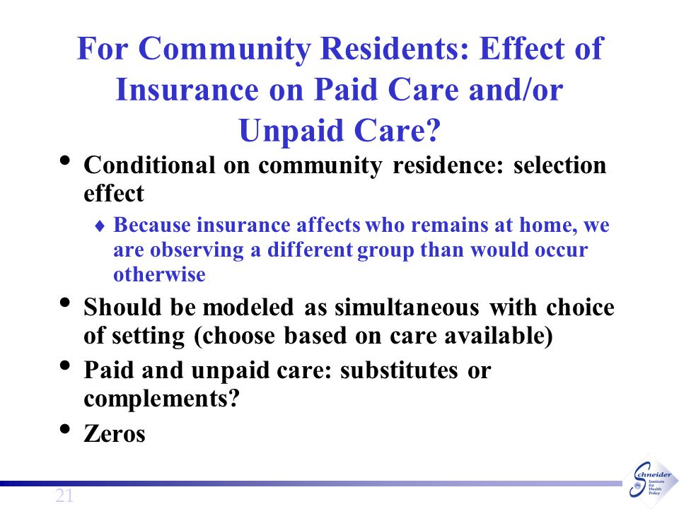 21 For Community Residents: Effect of Insurance on Paid Care and/or Unpaid Care.