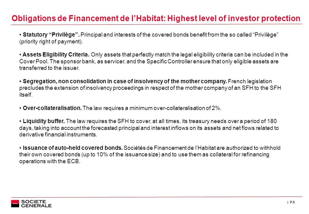 | P.5 Obligations de Financement de l'Habitat: Highest level of investor protection Statutory Privilège .