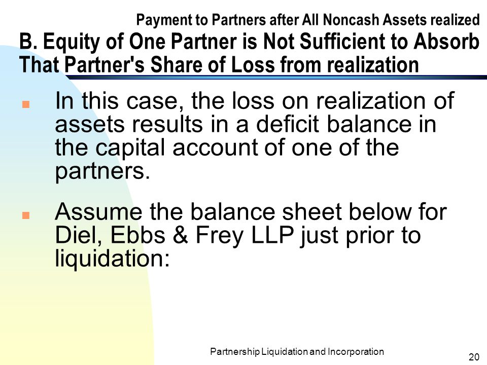 Partnership Liquidation and Incorporation 19 Note to the statement of realization and liquidation for Abra & Barg LLP (contd.) n In the following examples, a partner s loan account balance (if any) is combined with the partner s capital account balance in the statement of realization and liquidation.