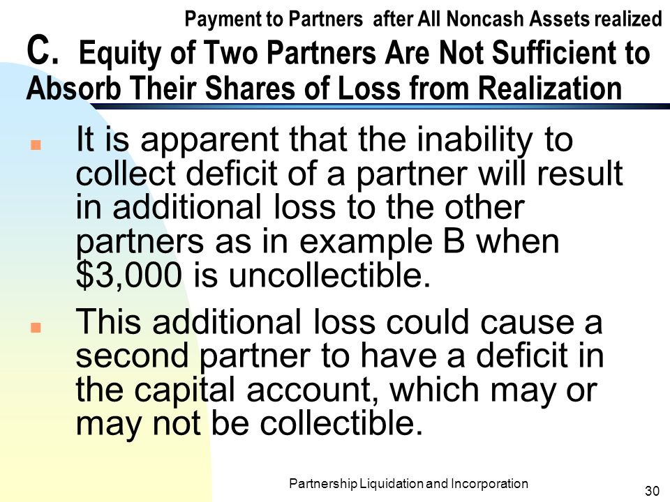 Partnership Liquidation and Incorporation 29 The Completion of the Statement of Realization and Liquidation When $3,000 is Uncollectible from Frey AssetsPartner' Capital CashLiabilities Diel (20%) Ebbs (40%) Frey (40%) Balances (from page 25) $1,000$2,000$(3,000) Additional loss from Frey's uncollectible capital deficit (1,000)(2,000)3,000 However, if the $3,000 is uncollectible, the statement would be completed with the write- off Frey s Capital as follows: