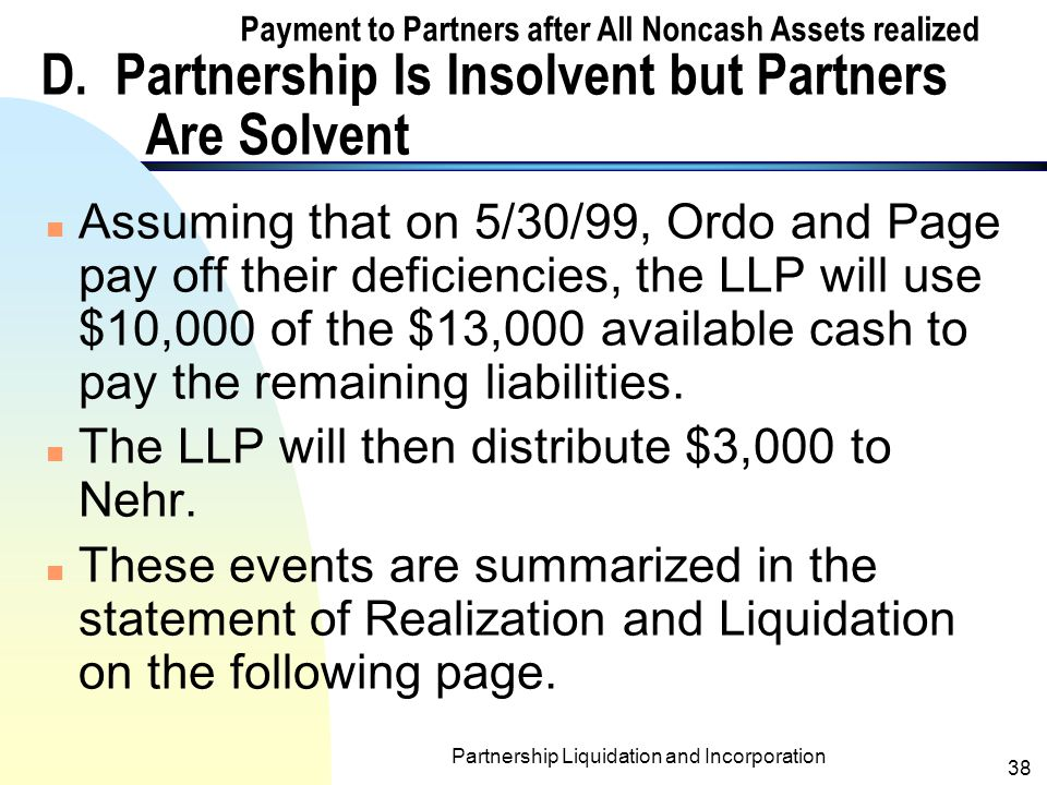 Partnership Liquidation and Incorporation 37 Payment to Partners after All Noncash Assets realized D.