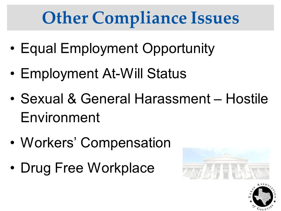 Other Compliance Issues Equal Employment Opportunity Employment At-Will Status Sexual & General Harassment – Hostile Environment Workers' Compensation Drug Free Workplace