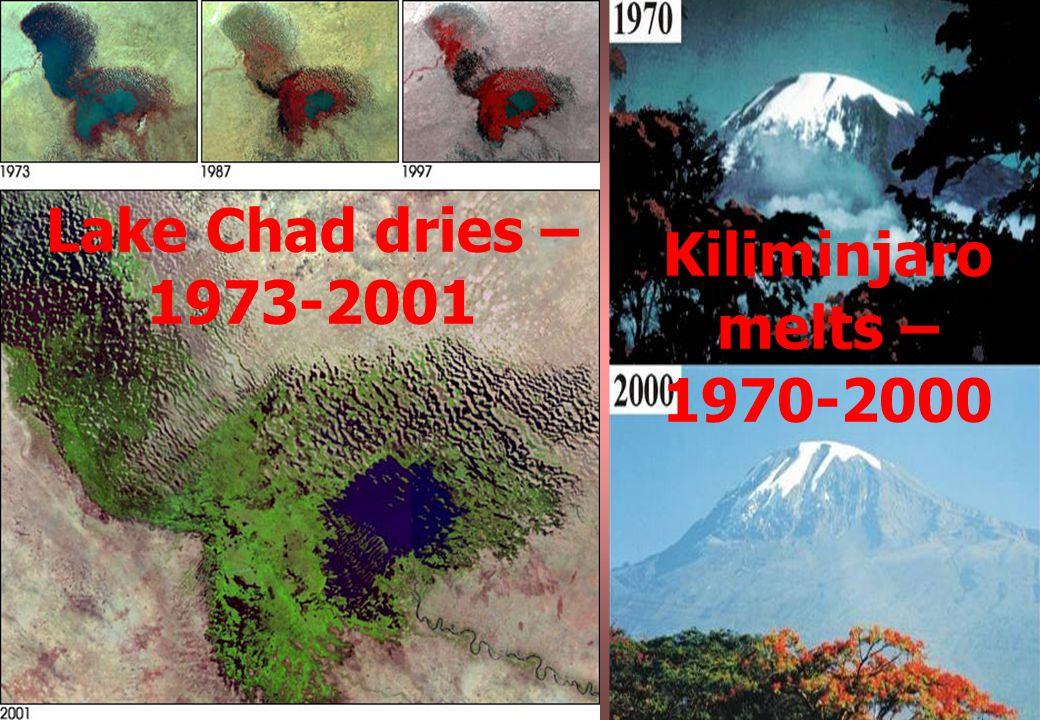 Lake Chad dries – 1973-2001 Kiliminjaro melts – 1970-2000