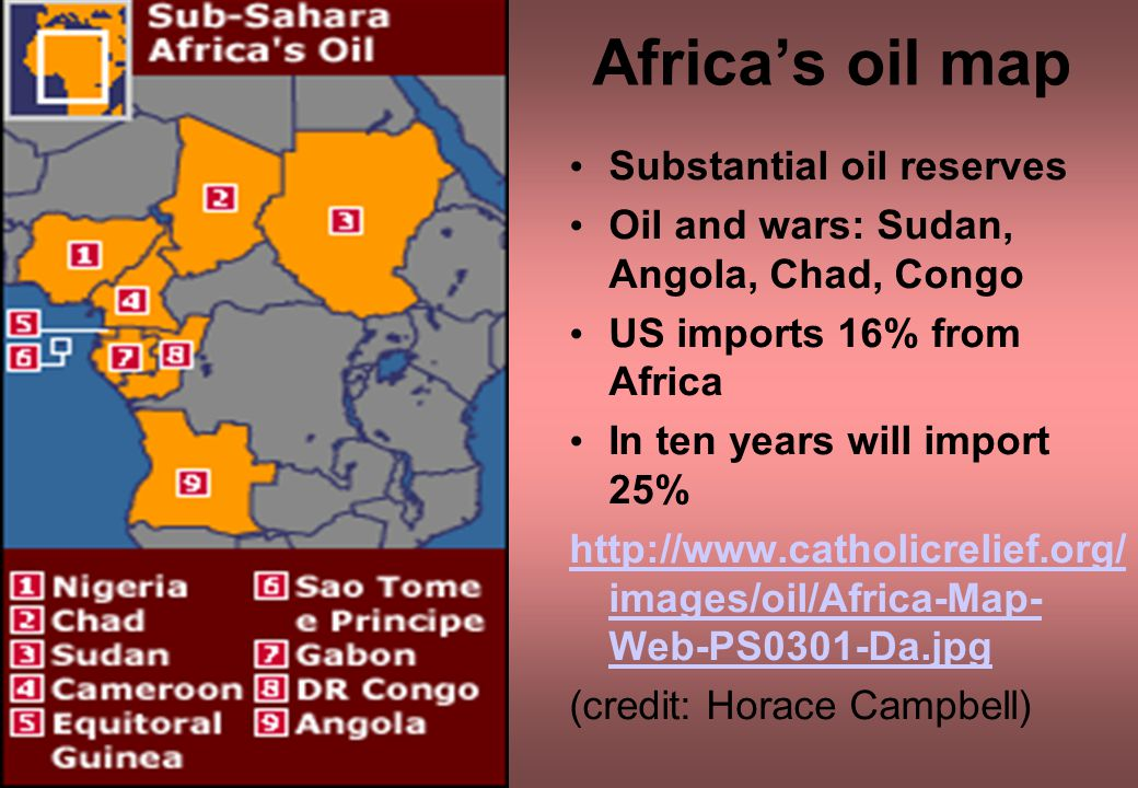 Africa's oil map Substantial oil reserves Oil and wars: Sudan, Angola, Chad, Congo US imports 16% from Africa In ten years will import 25% http://www.catholicrelief.org/ images/oil/Africa-Map- Web-PS0301-Da.jpg (credit: Horace Campbell)