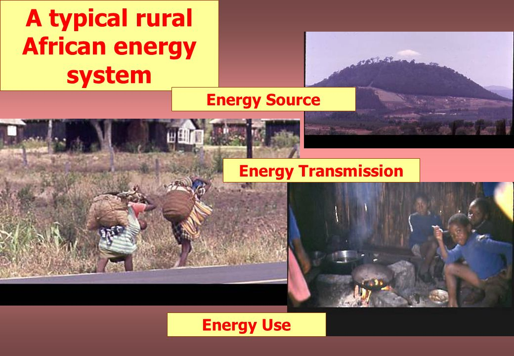 A typical rural African energy system Energy Source Energy Transmission Energy Use
