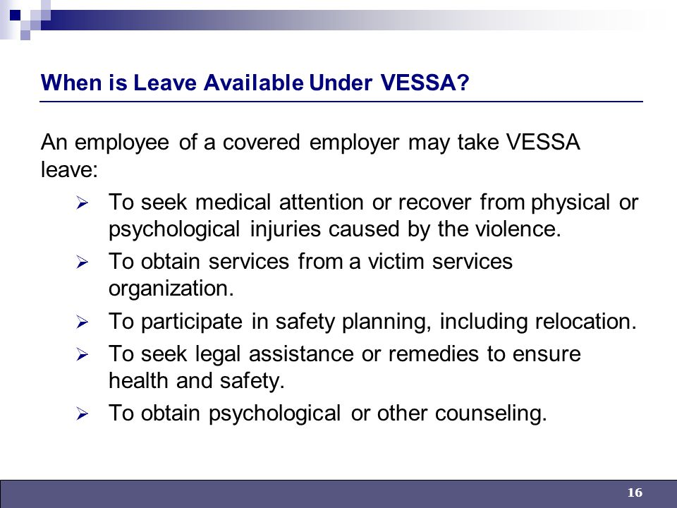16 When is Leave Available Under VESSA.