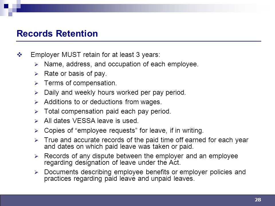 28 Records Retention  Employer MUST retain for at least 3 years:  Name, address, and occupation of each employee.