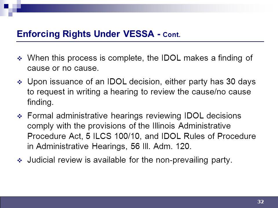 32 Enforcing Rights Under VESSA - Cont.
