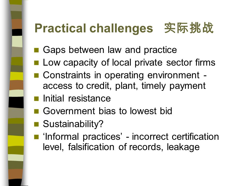 Practical challenges 实际挑战 Gaps between law and practice Low capacity of local private sector firms Constraints in operating environment - access to credit, plant, timely payment Initial resistance Government bias to lowest bid Sustainability.