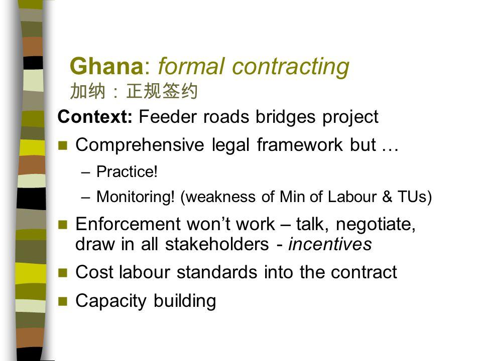 Ghana: formal contracting 加纳:正规签约 Context: Feeder roads bridges project Comprehensive legal framework but … –Practice.