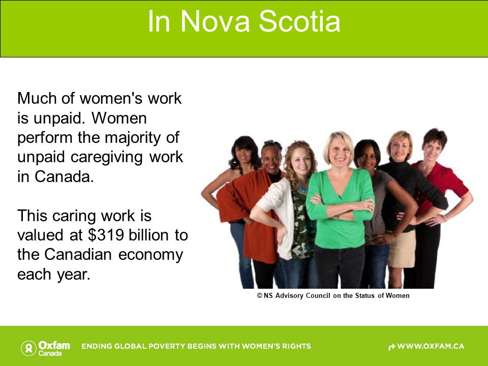 In Canada The average Canadian man puts in 831 hours per year of unpaid work while the average Canadian woman puts in 1,483 hours per year.