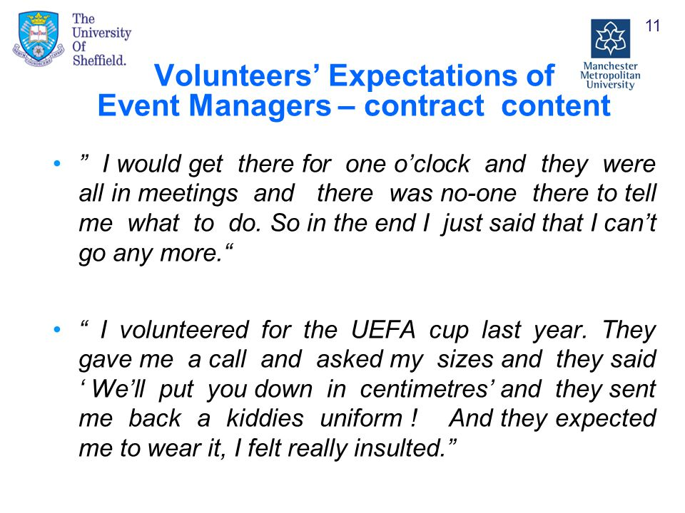 Volunteers' Expectations of Event Managers – contract content I would get there for one o'clock and they were all in meetings and there was no-one there to tell me what to do.