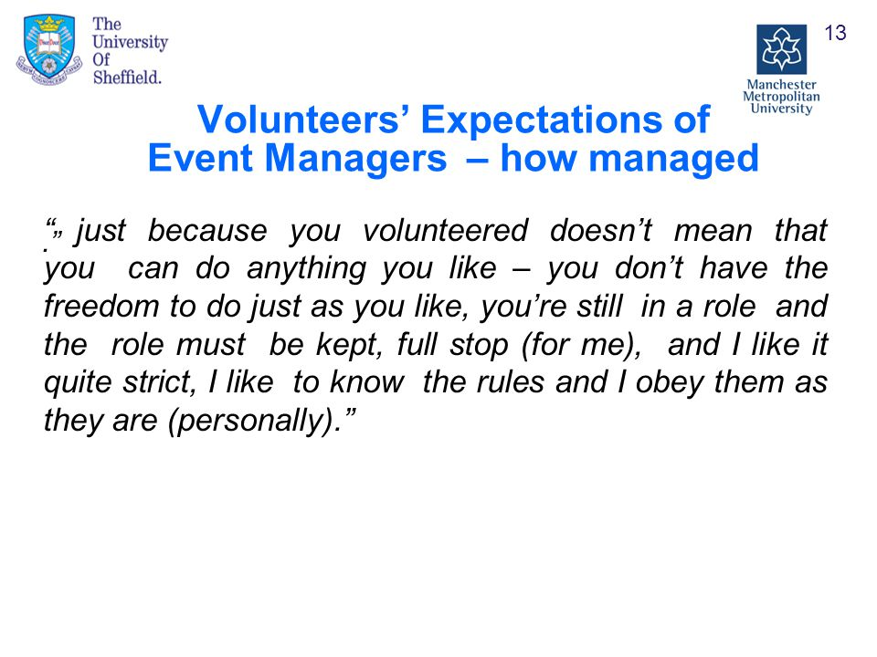 Volunteers' Expectations of Event Managers – how managed. 13 just because you volunteered doesn't mean that you can do anything you like – you don't have the freedom to do just as you like, you're still in a role and the role must be kept, full stop (for me), and I like it quite strict, I like to know the rules and I obey them as they are (personally).