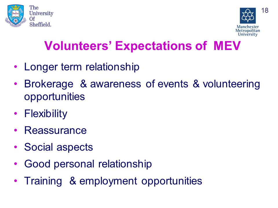 Volunteers' Expectations of MEV Longer term relationship Brokerage & awareness of events & volunteering opportunities Flexibility Reassurance Social aspects Good personal relationship Training & employment opportunities 18