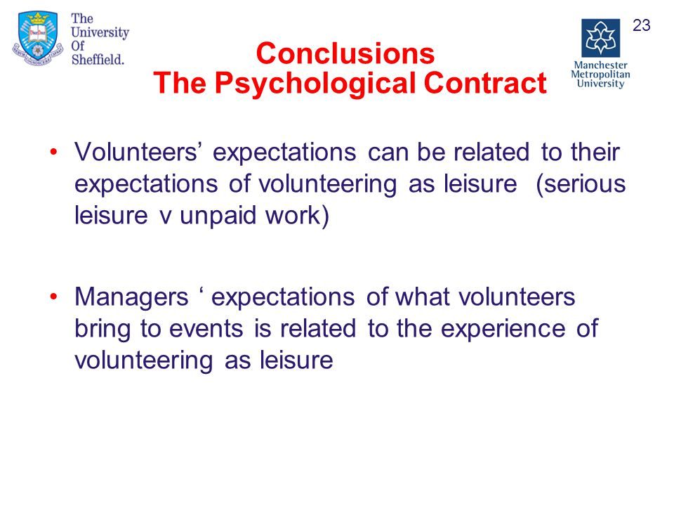 Conclusions The Psychological Contract Volunteers' expectations can be related to their expectations of volunteering as leisure (serious leisure v unpaid work) Managers ' expectations of what volunteers bring to events is related to the experience of volunteering as leisure 23