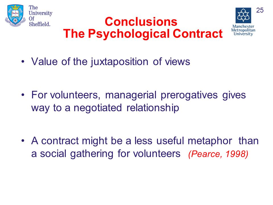 Conclusions The Psychological Contract Value of the juxtaposition of views For volunteers, managerial prerogatives gives way to a negotiated relationship A contract might be a less useful metaphor than a social gathering for volunteers (Pearce, 1998) 25