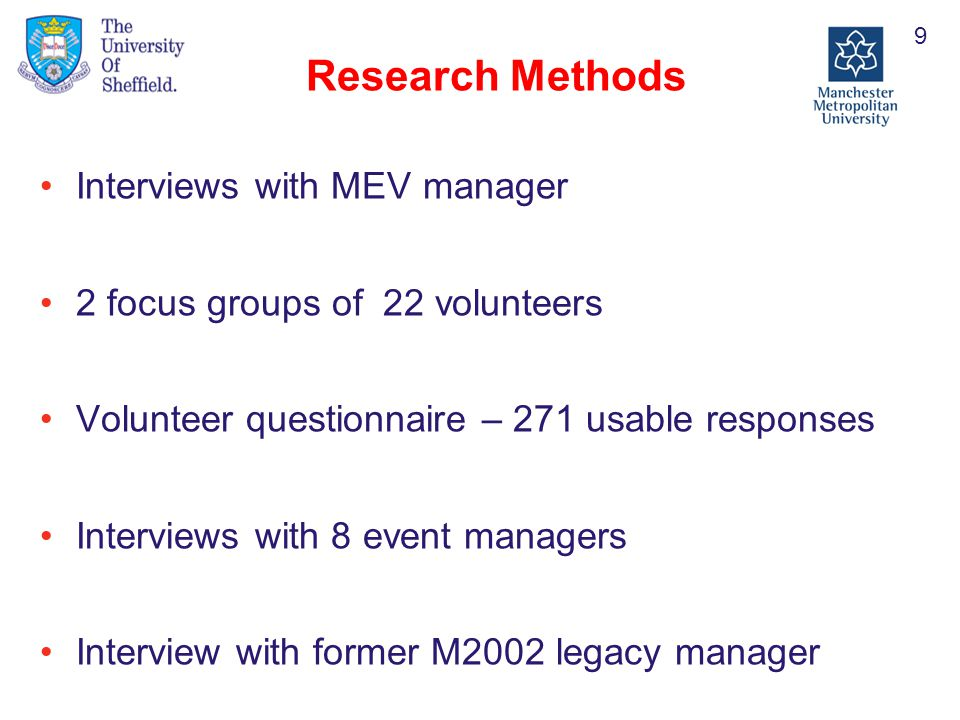 Research Methods Interviews with MEV manager 2 focus groups of 22 volunteers Volunteer questionnaire – 271 usable responses Interviews with 8 event managers Interview with former M2002 legacy manager 9