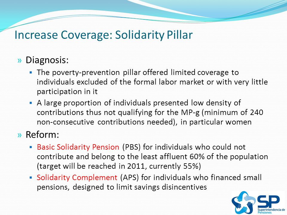 Increase Coverage: Solidarity Pillar » Diagnosis:  The poverty-prevention pillar offered limited coverage to individuals excluded of the formal labor market or with very little participation in it  A large proportion of individuals presented low density of contributions thus not qualifying for the MP-g (minimum of 240 non-consecutive contributions needed), in particular women » Reform:  Basic Solidarity Pension (PBS) for individuals who could not contribute and belong to the least affluent 60% of the population (target will be reached in 2011, currently 55%)  Solidarity Complement (APS) for individuals who financed small pensions, designed to limit savings disincentives